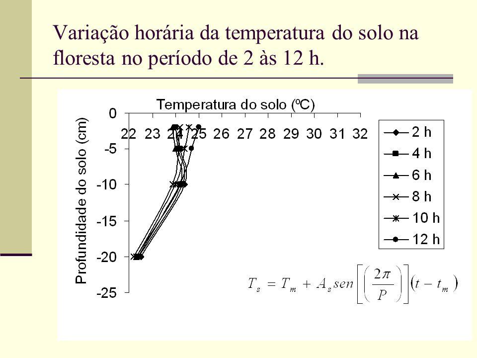 Variação horária da temperatura do solo na floresta no período de 2 às 12 h.