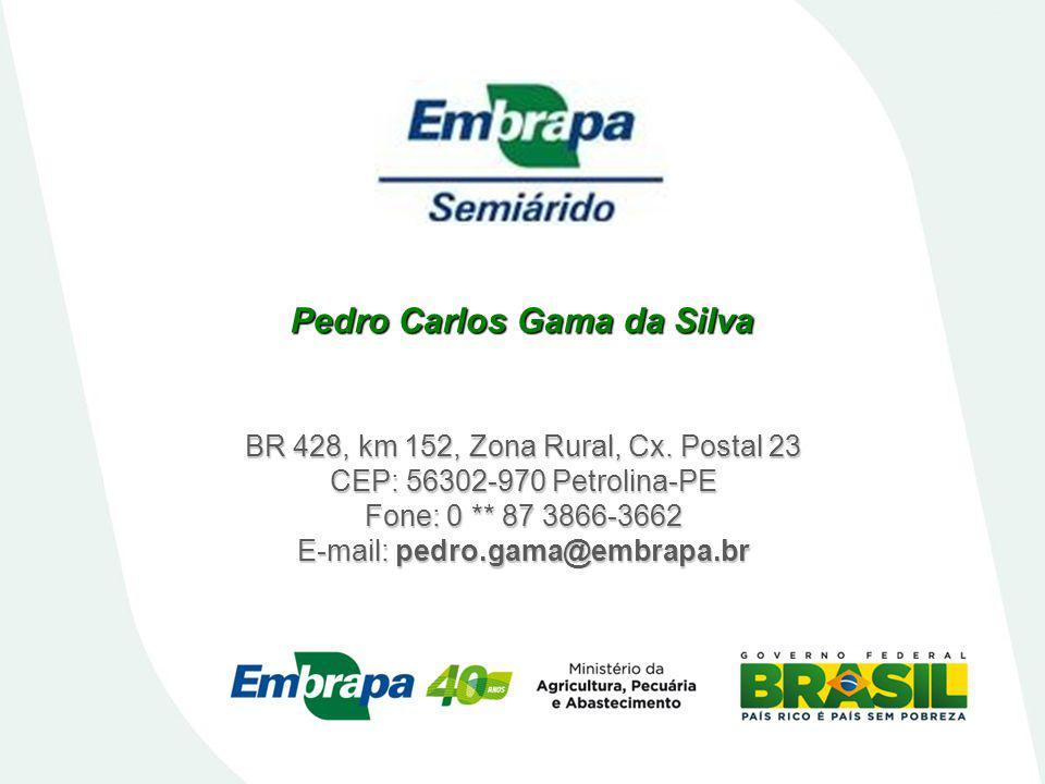 BR 428, km 152, Zona Rural, Cx. Postal 23 CEP: 56302-970 Petrolina-PE Fone: 0 ** 87 3866-3662 E-mail: pedro.gama@embrapa.br Pedro Carlos Gama da Silva