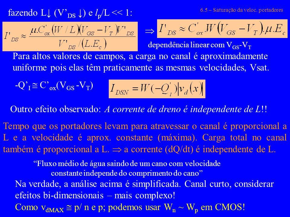 6.5 – Saturação da veloc. portadores fazendo L (V DS ) e l p /L << 1: dependência linear com V GS -V T Para altos valores de campos, a carga no canal