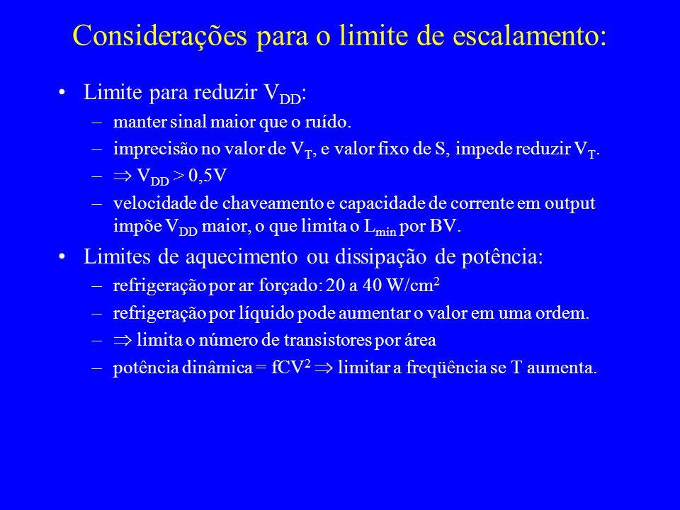 Considerações para o limite de escalamento: Limite para reduzir V DD : –manter sinal maior que o ruído. –imprecisão no valor de V T, e valor fixo de S