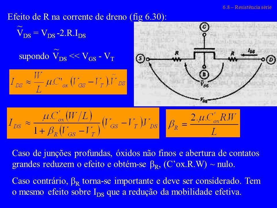 6.8 – Resistência série Efeito de R na corrente de dreno (fig 6.30): V DS = V DS -2.R.I DS ~ supondo V DS << V GS - V T ~ Caso de junções profundas, ó