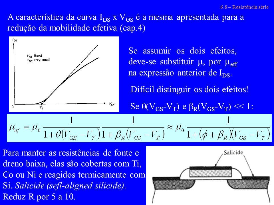 6.8 – Resistência série A característica da curva I DS x V GS é a mesma apresentada para a redução da mobilidade efetiva (cap.4) Se assumir os dois ef
