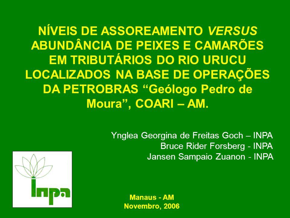 RESULTADOS E DISCUSSÃO Correlação entre abundância de peixes dos igarapés (g/l) versus abundância de camarões dos igarapés.