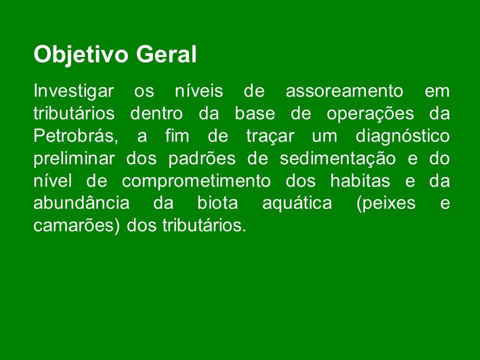 Objetivo Geral Investigar os níveis de assoreamento em tributários dentro da base de operações da Petrobrás, a fim de traçar um diagnóstico preliminar
