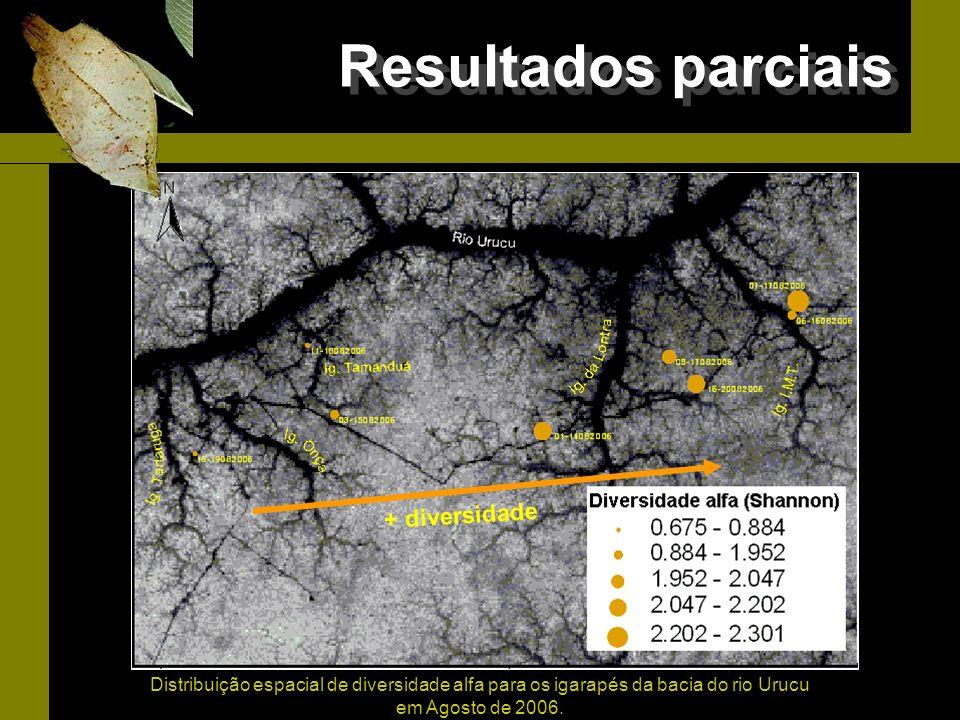 Distribuição espacial de diversidade alfa para os igarapés da bacia do rio Urucu em Agosto de 2006. Diversidade + diversidade Resultados parciais