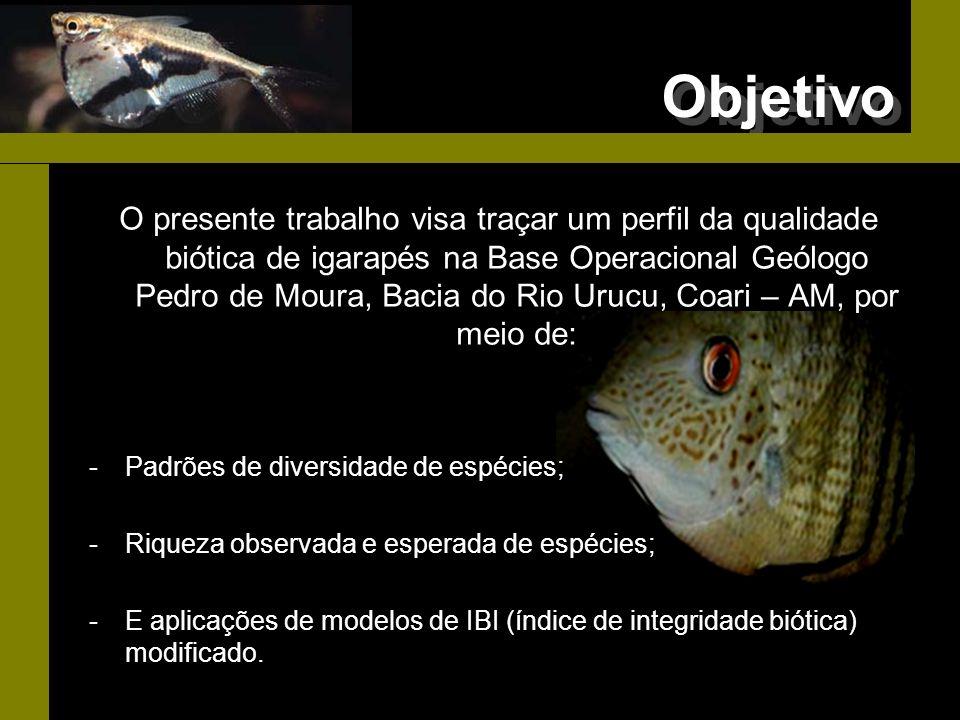 Objetivo O presente trabalho visa traçar um perfil da qualidade biótica de igarapés na Base Operacional Geólogo Pedro de Moura, Bacia do Rio Urucu, Co