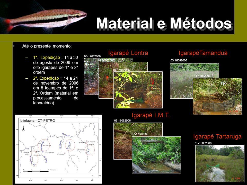 Material e Métodos Até o presente momento: –1ª. Expedição = 14 a 30 de agosto de 2006 em oito igarapés de 1ª e 2ª ordem –2ª. Expedição = 14 a 24 de no