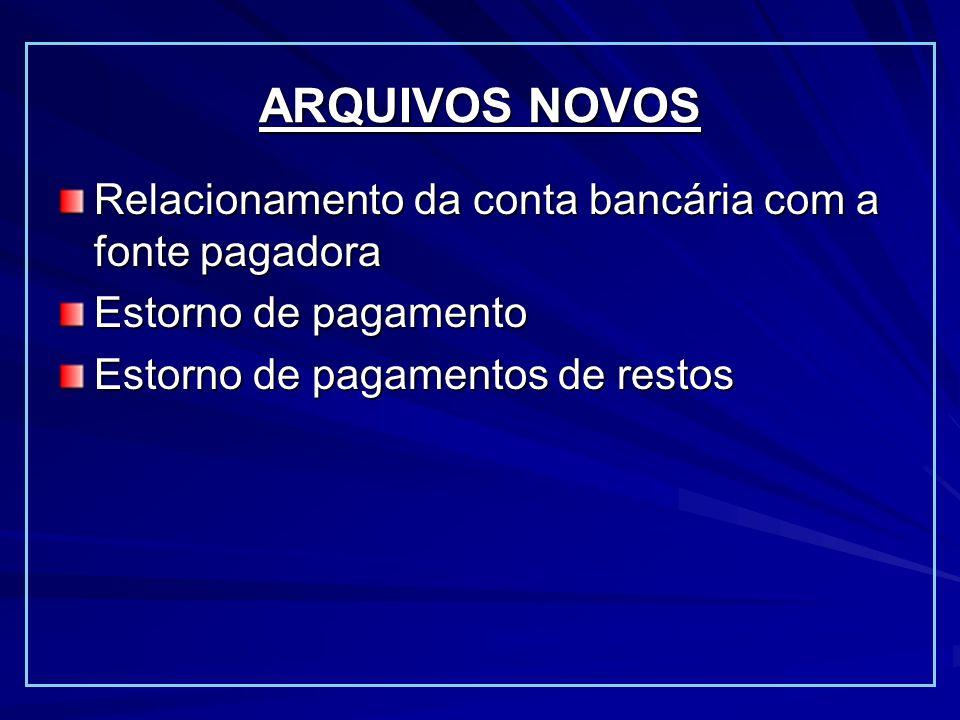 Relacionamento da conta bancária com a fonte pagadora Estorno de pagamento Estorno de pagamentos de restos ARQUIVOS NOVOS