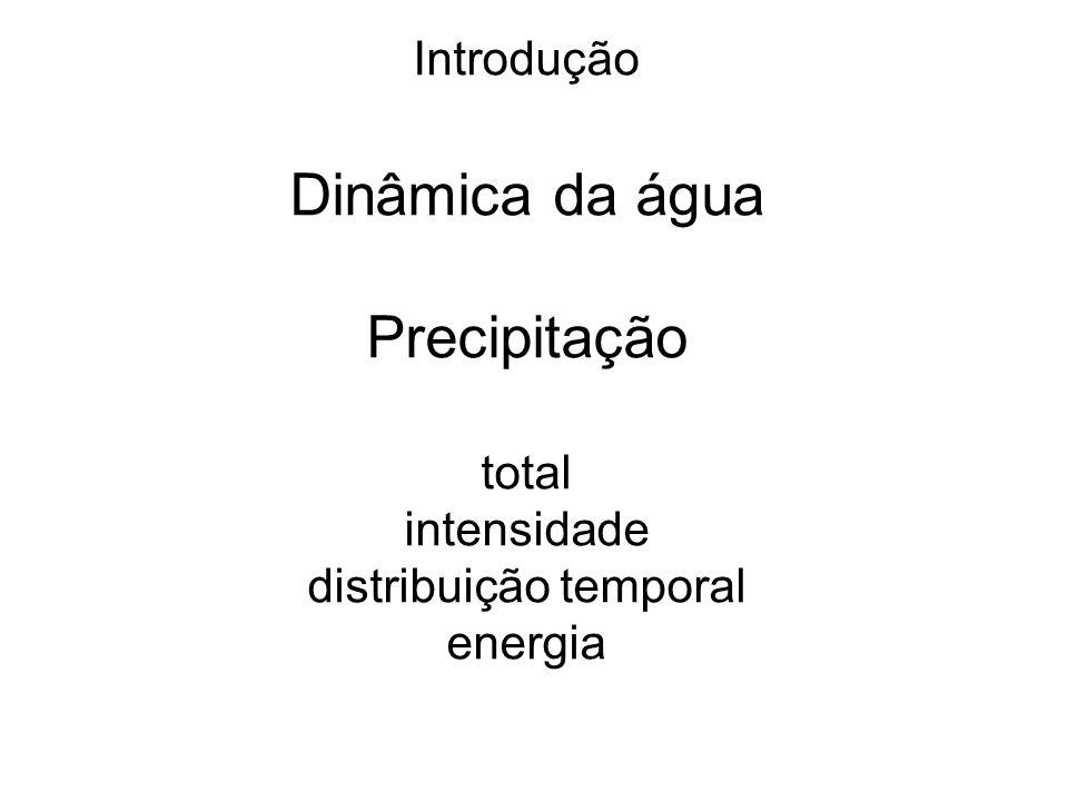 Introdução Dinâmica da água Precipitação total intensidade distribuição temporal energia