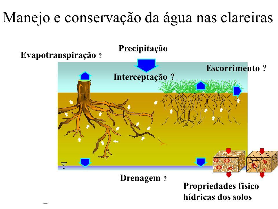 Precipitação Evapotranspiração ? Drenagem ? Interceptação ? Propriedades fisico hídricas dos solos Manejo e conservação da água nas clareiras Escorrim