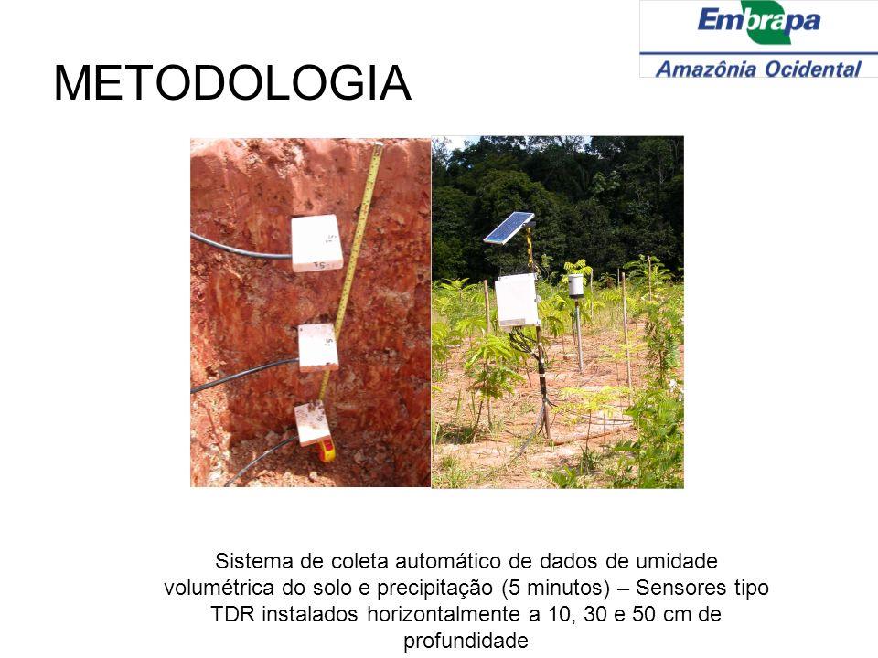 METODOLOGIA Sistema de coleta automático de dados de umidade volumétrica do solo e precipitação (5 minutos) – Sensores tipo TDR instalados horizontalm