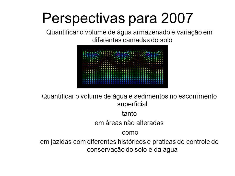 Perspectivas para 2007 Quantificar o volume de água armazenado e variação em diferentes camadas do solo Quantificar o volume de água e sedimentos no e