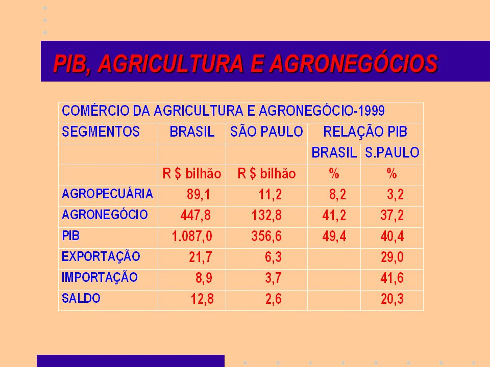 PIB, AGRICULTURA E AGRONEGÓCIOS