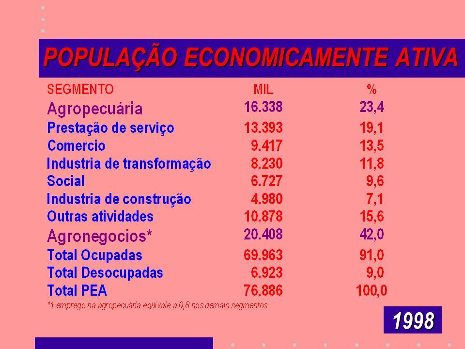 POPULAÇÃO ECONOMICAMENTE ATIVA POPULAÇÃO ECONOMICAMENTE ATIVA 1998