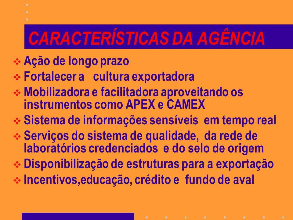 CARACTERÍSTICAS DA AGÊNCIA Ação de longo prazo Fortalecer a cultura exportadora Mobilizadora e facilitadora aproveitando os instrumentos como APEX e C