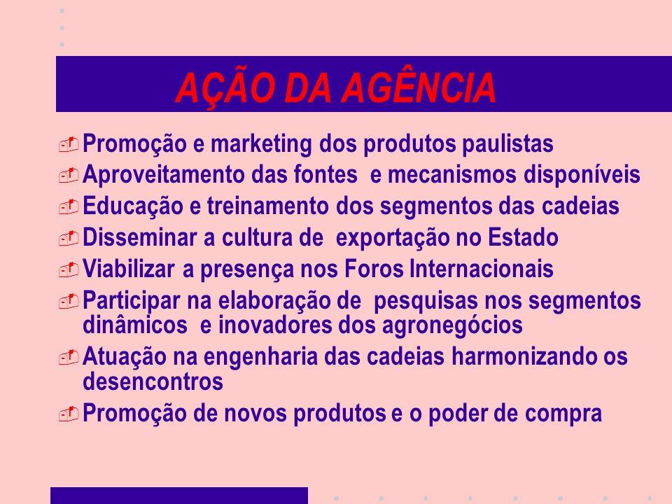 AÇÃO DA AGÊNCIA Promoção e marketing dos produtos paulistas Aproveitamento das fontes e mecanismos disponíveis Educação e treinamento dos segmentos da