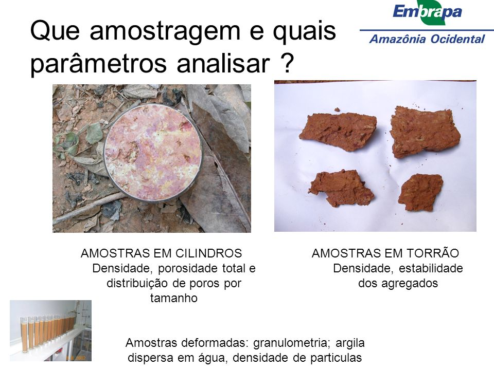 Que amostragem e quais parâmetros analisar ? AMOSTRAS EM CILINDROS Densidade, porosidade total e distribuição de poros por tamanho AMOSTRAS EM TORRÃO