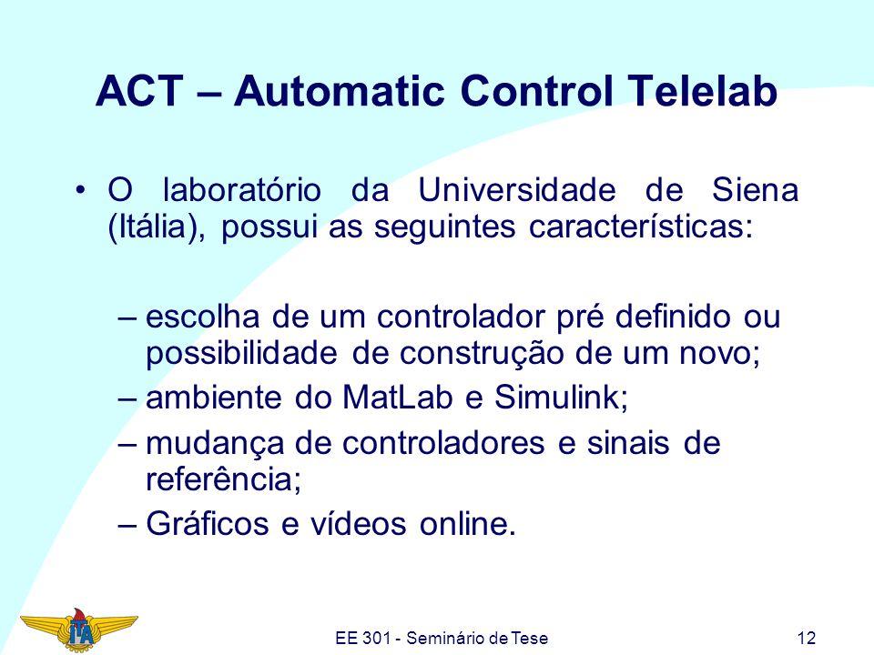 EE 301 - Seminário de Tese12 ACT – Automatic Control Telelab O laboratório da Universidade de Siena (Itália), possui as seguintes características: –es