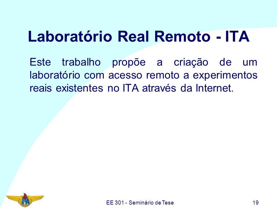 EE 301 - Seminário de Tese19 Laboratório Real Remoto - ITA Este trabalho propõe a criação de um laboratório com acesso remoto a experimentos reais exi