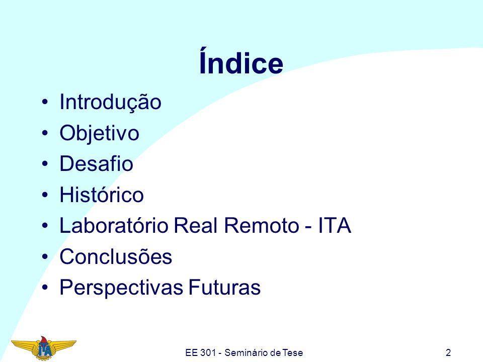 EE 301 - Seminário de Tese2 Índice Introdução Objetivo Desafio Histórico Laboratório Real Remoto - ITA Conclusões Perspectivas Futuras