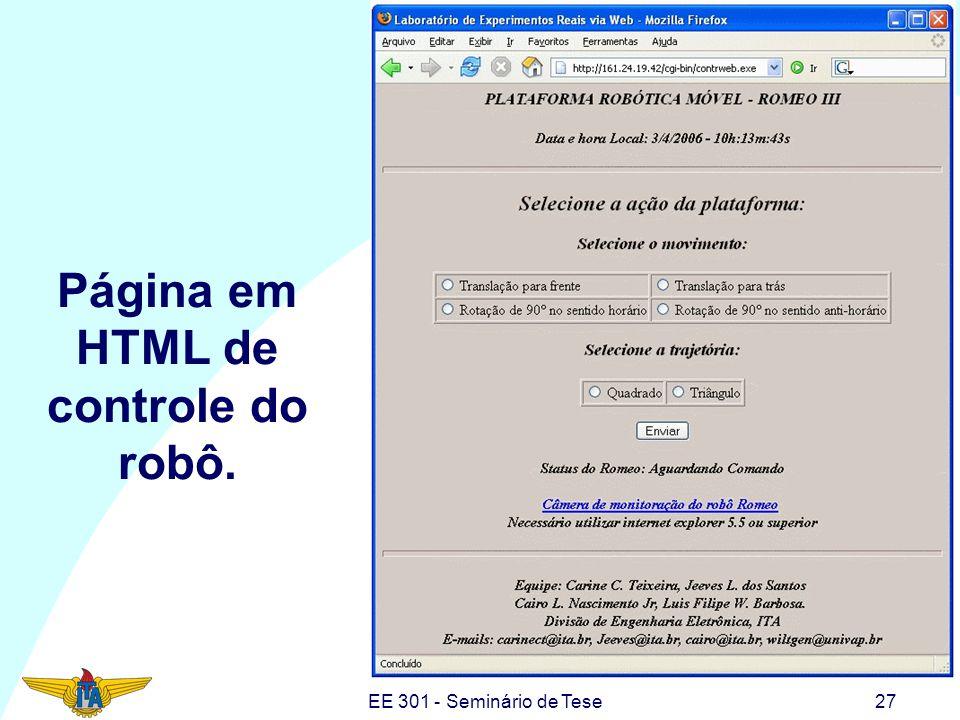 EE 301 - Seminário de Tese27 Página em HTML de controle do robô.