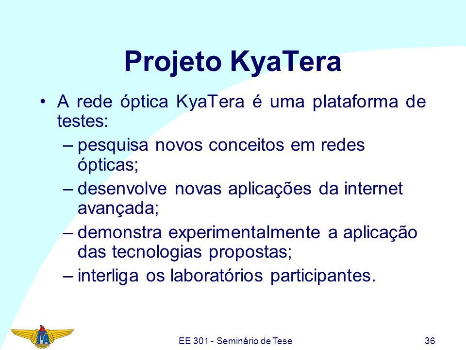 EE 301 - Seminário de Tese36 Projeto KyaTera A rede óptica KyaTera é uma plataforma de testes: –pesquisa novos conceitos em redes ópticas; –desenvolve