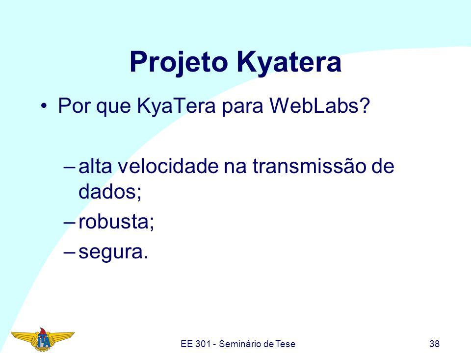 EE 301 - Seminário de Tese38 Projeto Kyatera Por que KyaTera para WebLabs? –alta velocidade na transmissão de dados; –robusta; –segura.