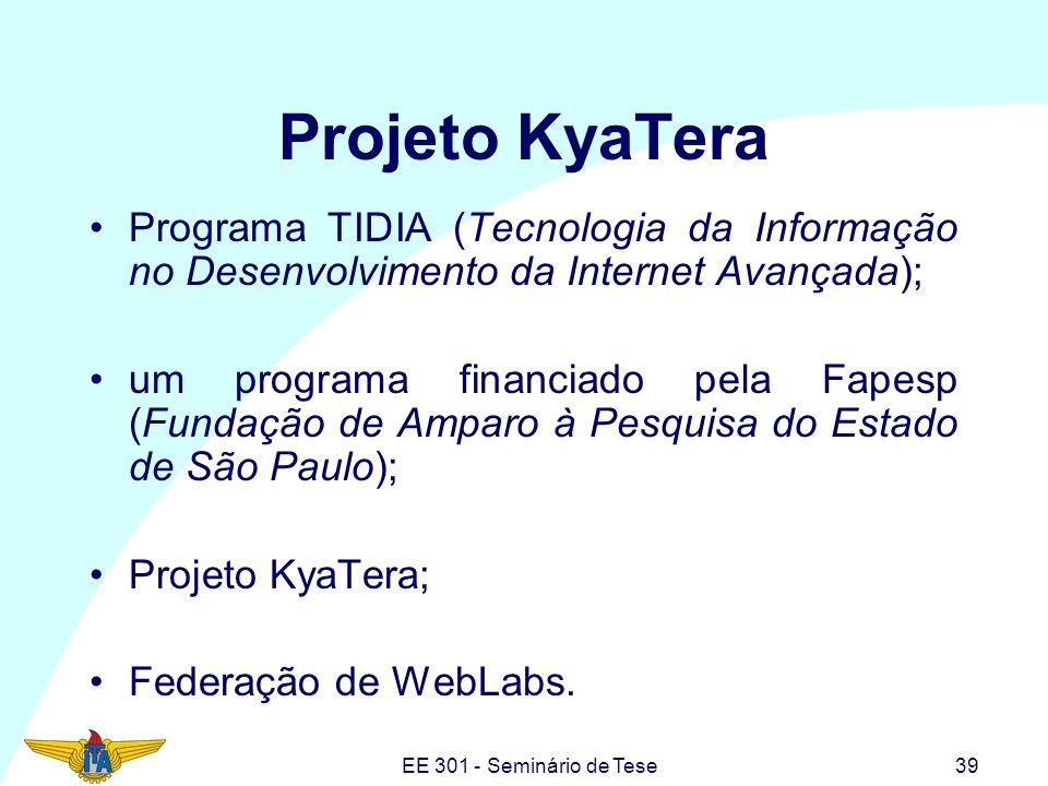 EE 301 - Seminário de Tese39 Projeto KyaTera Programa TIDIA (Tecnologia da Informação no Desenvolvimento da Internet Avançada); um programa financiado