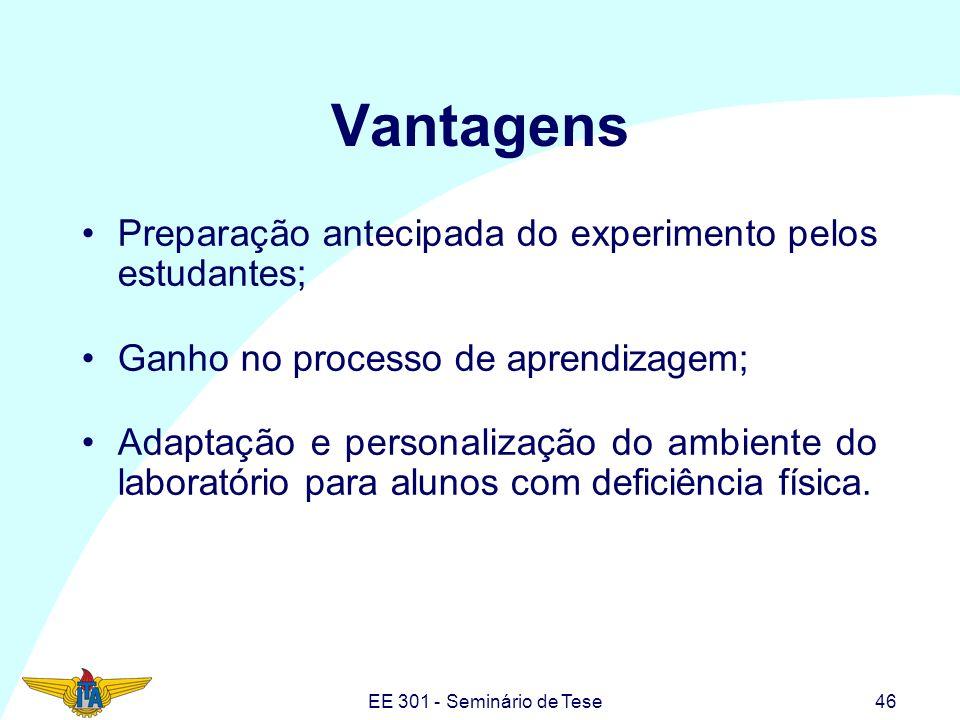 EE 301 - Seminário de Tese46 Vantagens Preparação antecipada do experimento pelos estudantes; Ganho no processo de aprendizagem; Adaptação e personali