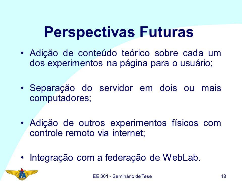 EE 301 - Seminário de Tese48 Perspectivas Futuras Adição de conteúdo teórico sobre cada um dos experimentos na página para o usuário; Separação do ser