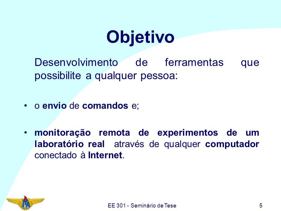 EE 301 - Seminário de Tese5 Objetivo Desenvolvimento de ferramentas que possibilite a qualquer pessoa: o envio de comandos e; monitoração remota de ex