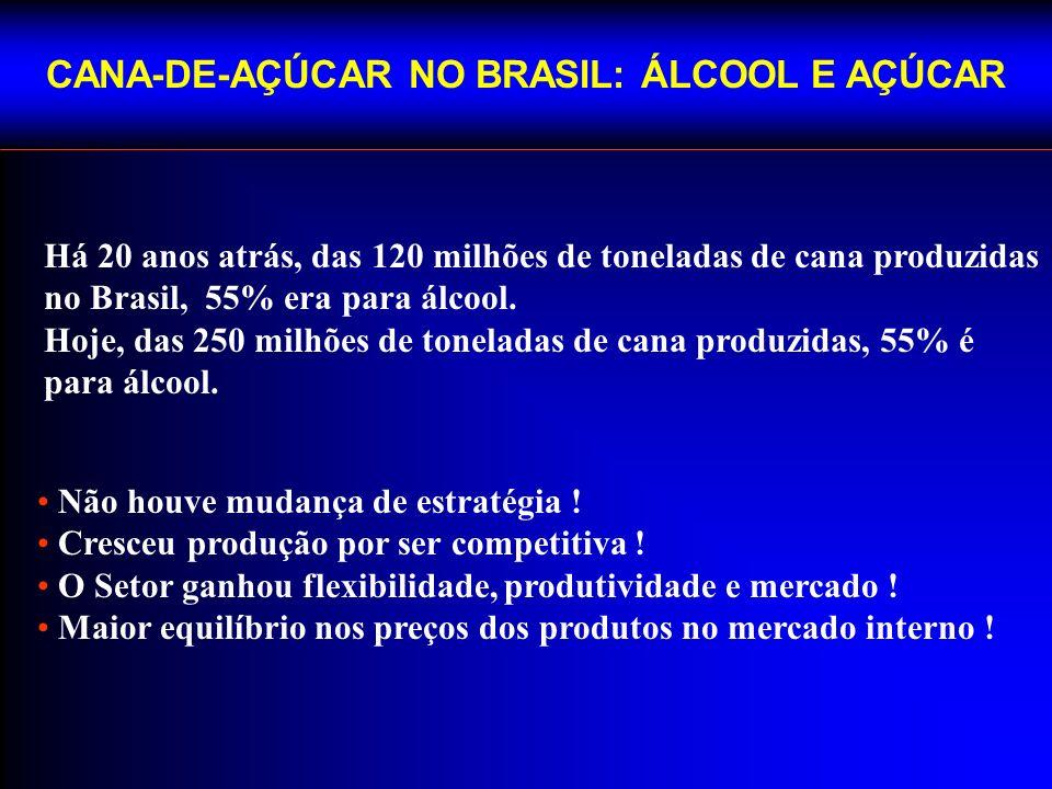 CANA-DE-AÇÚCAR NO BRASIL: ÁLCOOL E AÇÚCAR Há 20 anos atrás, das 120 milhões de toneladas de cana produzidas no Brasil, 55% era para álcool.