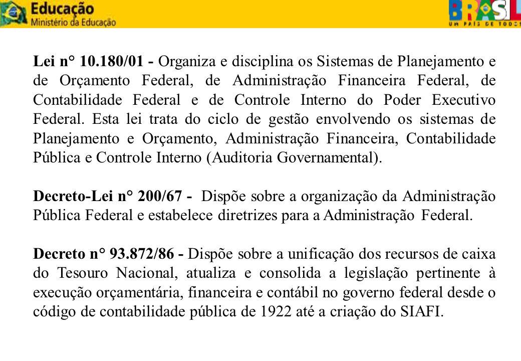 Lei n° 10.180/01 - Organiza e disciplina os Sistemas de Planejamento e de Orçamento Federal, de Administração Financeira Federal, de Contabilidade Fed