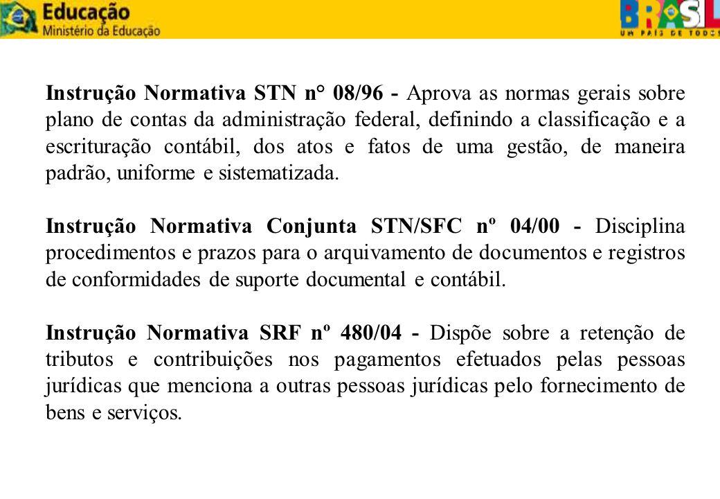 Instrução Normativa STN n° 08/96 - Aprova as normas gerais sobre plano de contas da administração federal, definindo a classificação e a escrituração