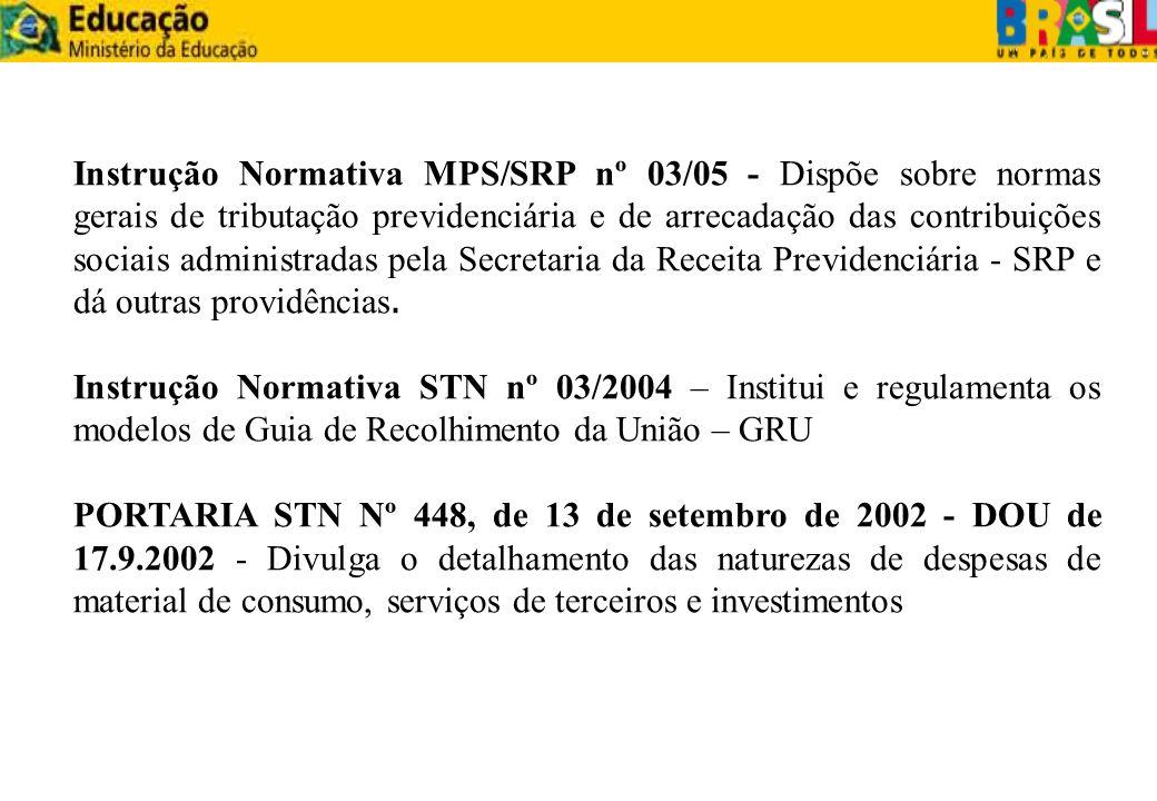 Instrução Normativa MPS/SRP nº 03/05 - Dispõe sobre normas gerais de tributação previdenciária e de arrecadação das contribuições sociais administrada