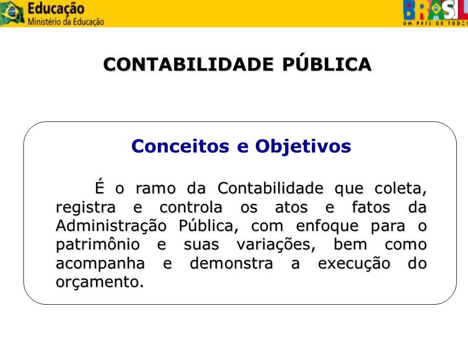 CONTABILIDADE PÚBLICA Conceitos e Objetivos É o ramo da Contabilidade que coleta, registra e controla os atos e fatos da Administração Pública, com en