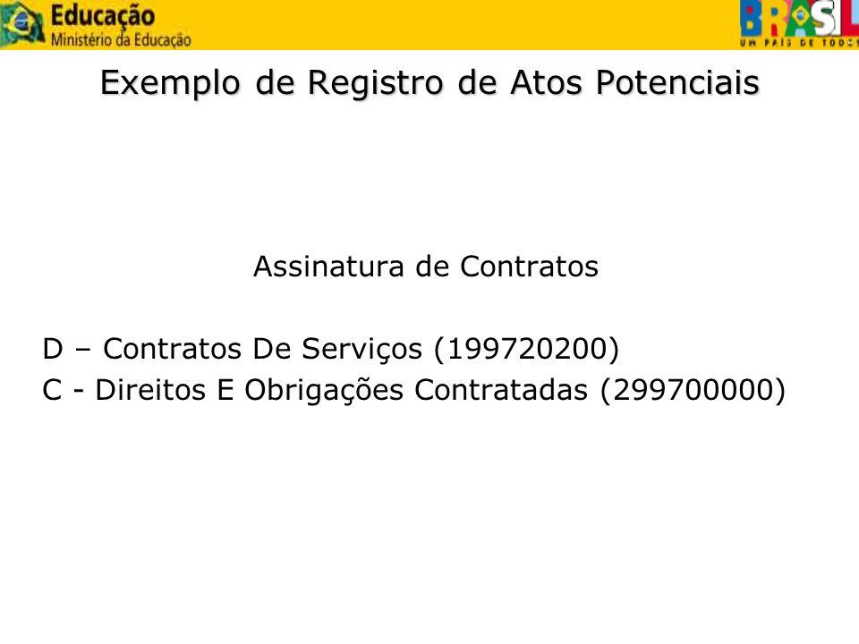 Exemplo de Registro de Atos Potenciais Assinatura de Contratos D – Contratos De Serviços (199720200) C - Direitos E Obrigações Contratadas (299700000)