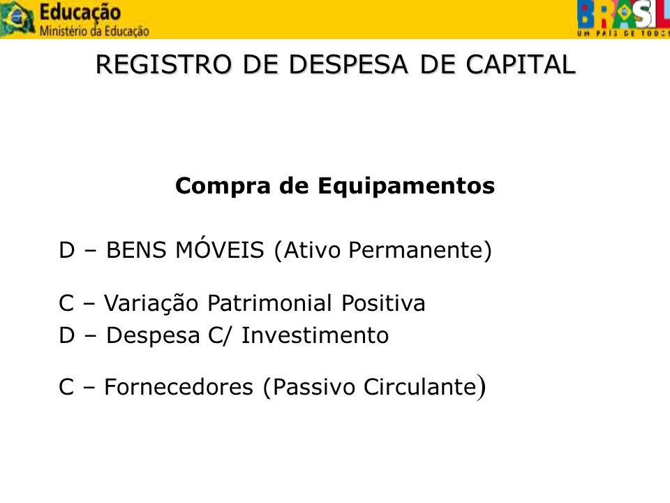 REGISTRO DE DESPESA DE CAPITAL Compra de Equipamentos D – BENS MÓVEIS (Ativo Permanente) C – Fornecedores (Passivo Circulante ) C – Variação Patrimoni