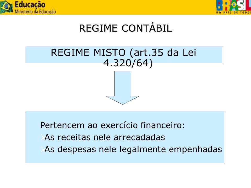 REGIME CONTÁBIL REGIME MISTO (art.35 da Lei 4.320/64) Pertencem ao exercício financeiro: As receitas nele arrecadadas As despesas nele legalmente empe