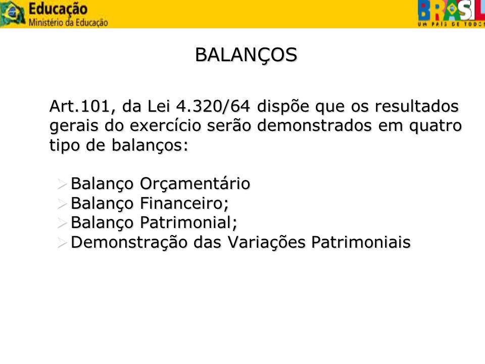 BALANÇOS Art.101, da Lei 4.320/64 dispõe que os resultados gerais do exercício serão demonstrados em quatro tipo de balanços: Balanço Orçamentário Bal