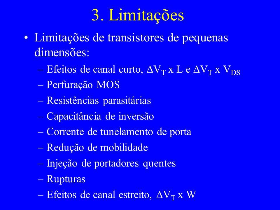 3. Limitações Limitações de transistores de pequenas dimensões: –Efeitos de canal curto, V T x L e V T x V DS –Perfuração MOS –Resistências parasitári