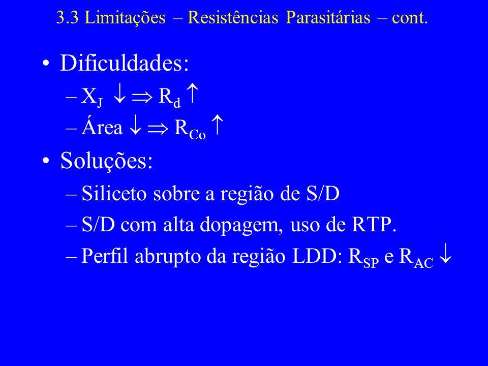 3.3 Limitações – Resistências Parasitárias – cont. Dificuldades: –X J R d –Área R Co Soluções: –Siliceto sobre a região de S/D –S/D com alta dopagem,