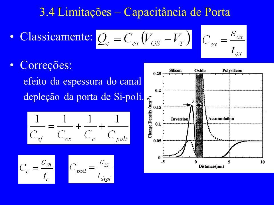 3.4 Limitações – Capacitância de Porta Classicamente: Correções: efeito da espessura do canal depleção da porta de Si-poli.