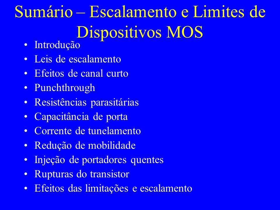 3.1 Limitações – Efeitos de canal curto Parâmetros de ajuste: –Dopagem no canal –Profundidade de junção –Espessura de óxido de porta