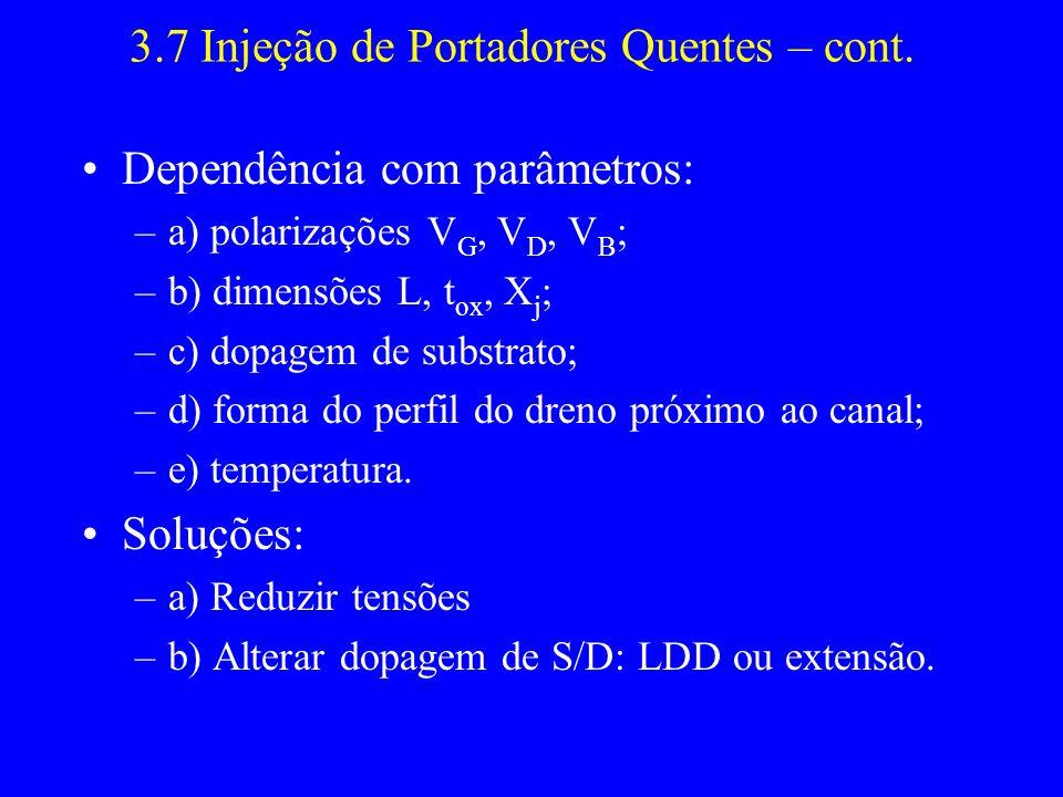 3.7 Injeção de Portadores Quentes – cont. Dependência com parâmetros: –a) polarizações V G, V D, V B ; –b) dimensões L, t ox, X j ; –c) dopagem de sub