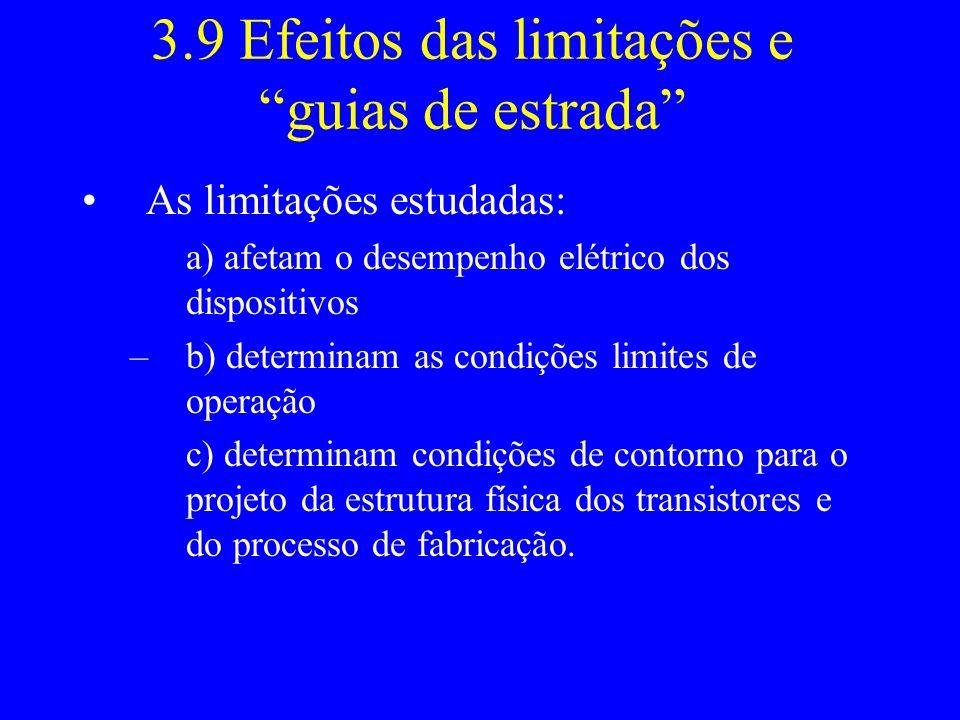 3.9 Efeitos das limitações e guias de estrada As limitações estudadas: a) afetam o desempenho elétrico dos dispositivos –b) determinam as condições li