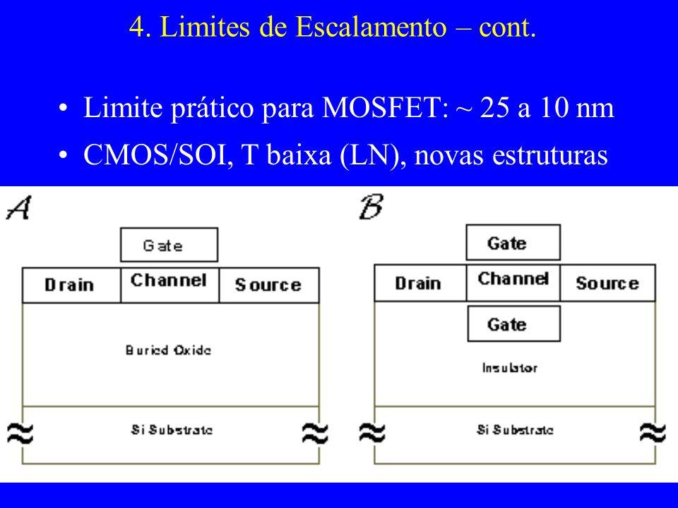 4. Limites de Escalamento – cont. Limite prático para MOSFET: ~ 25 a 10 nm CMOS/SOI, T baixa (LN), novas estruturas