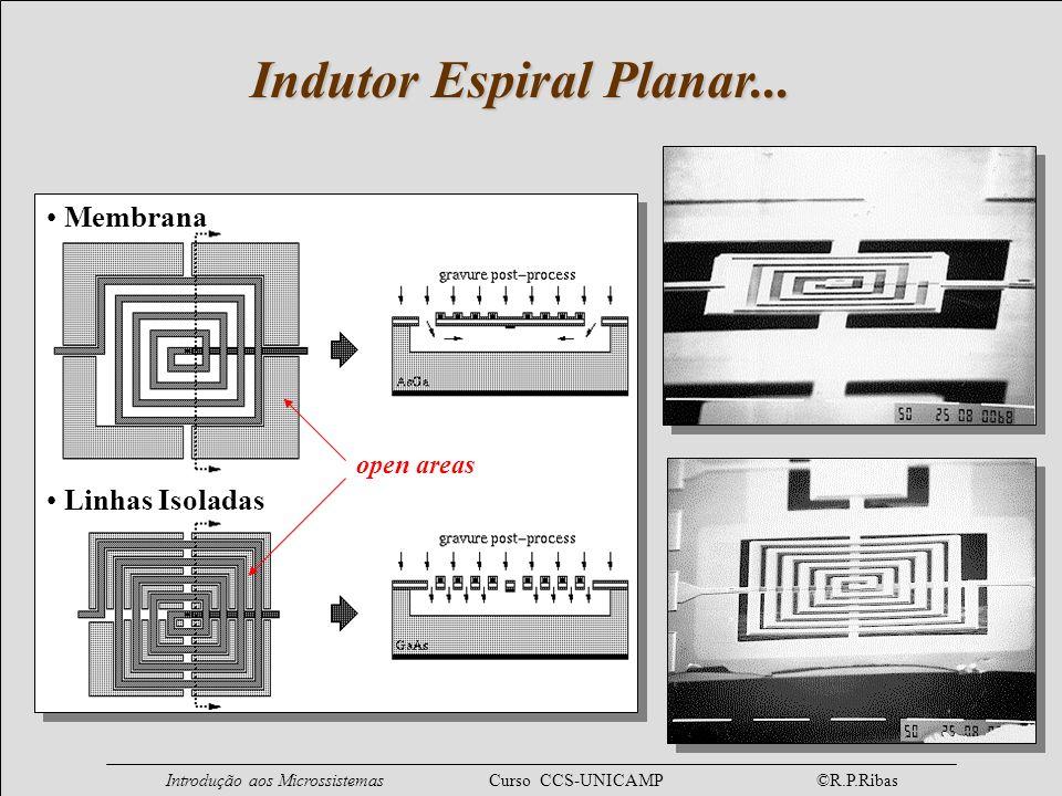 Introdução aos Microssistemas Curso CCS-UNICAMP ©R.P.Ribas Indutor Espiral Planar... Membrana Linhas Isoladas open areas
