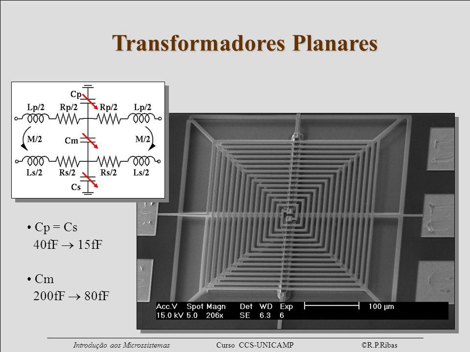 Introdução aos Microssistemas Curso CCS-UNICAMP ©R.P.Ribas Transformadores Planares Cp = Cs 40fF 15fF Cm 200fF 80fF