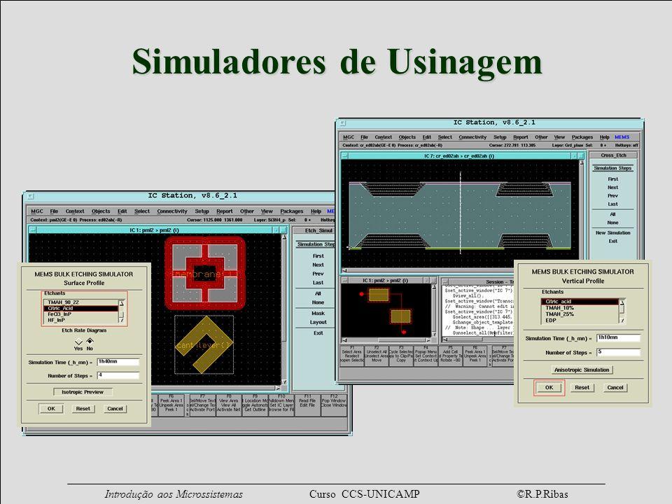 Introdução aos Microssistemas Curso CCS-UNICAMP ©R.P.Ribas Simuladores de Usinagem